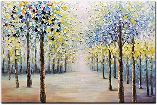 Hand Painting Modern Abstract Art Oil Painting Apple Money Tree Canvas Painting