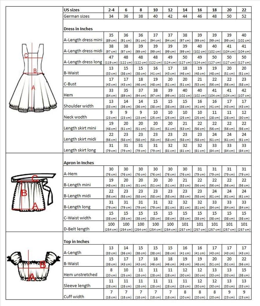 Dirndl-s Di20os 3pcs. Size 4, Women Oktoberfest drindle-s Dress-ES Costume-s Orange Black by Dirndl World