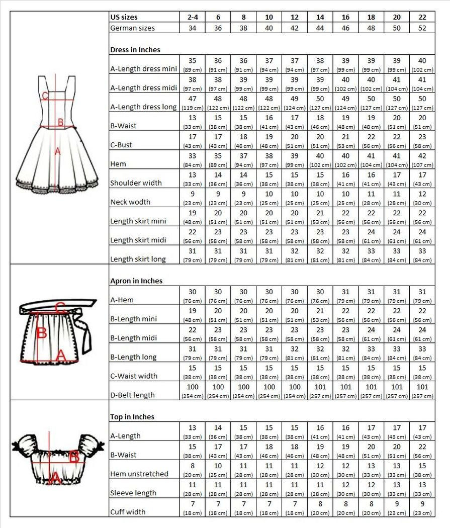 Dirndl World Womens Di17, German Bavarian 3 Piece Mini Dirndl Dress for Oktoberfest, Blouse, Apron, Size 22