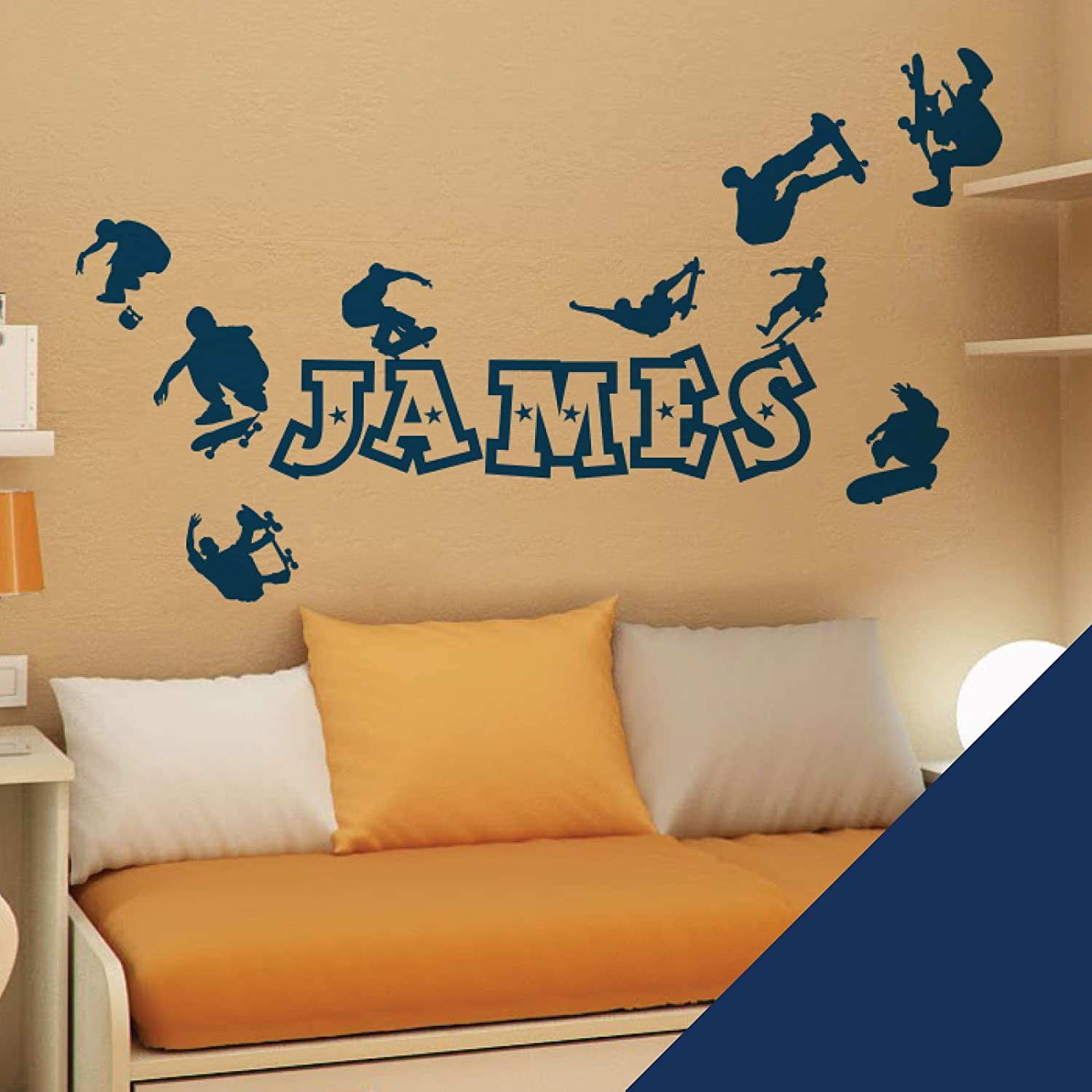 Personalised Name Boys Wall Art Sticker - Skaters, Skateboard, Park, Skate - Please message us with the name! Wall Designer