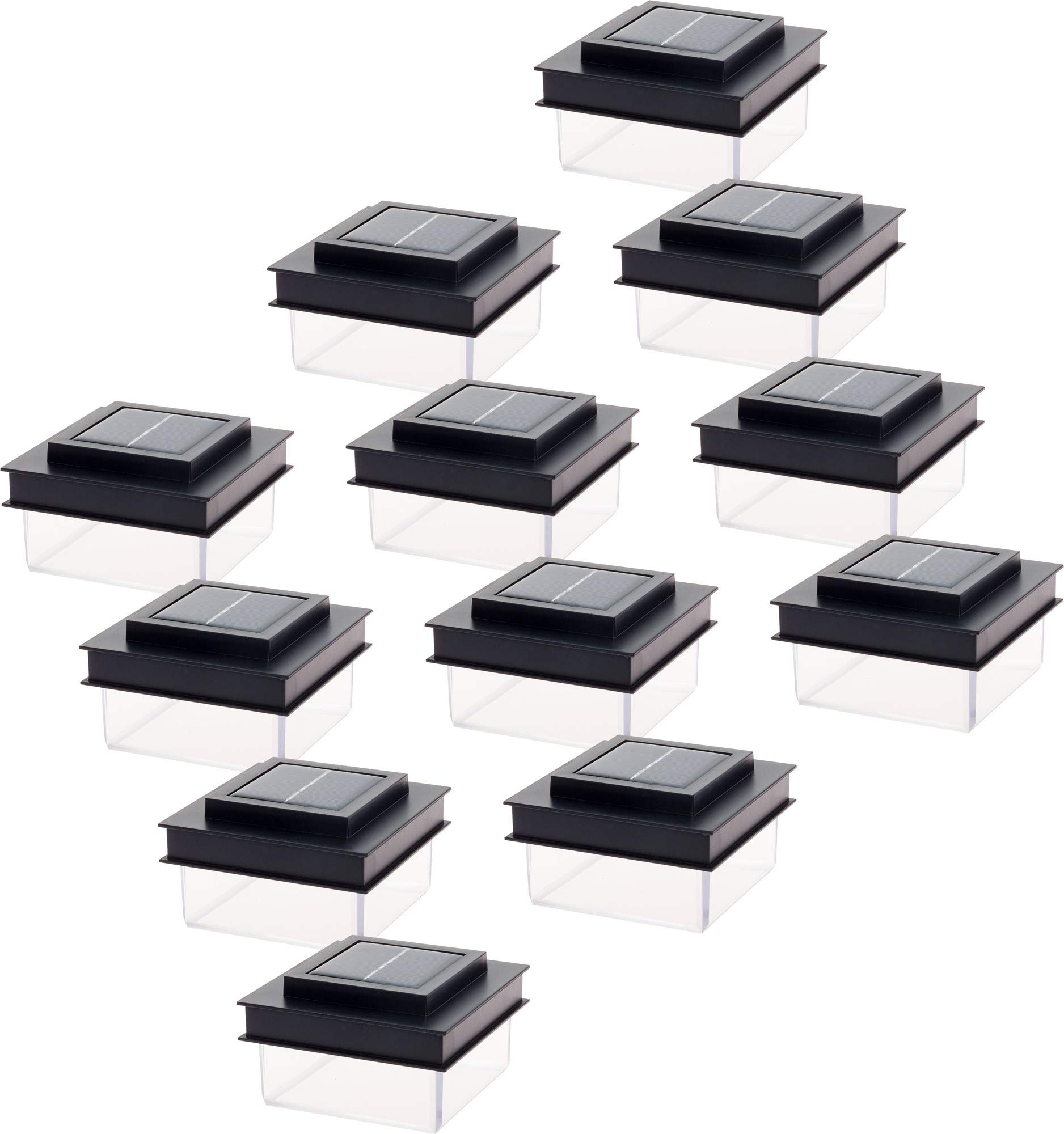 GreenLighting Translucent 12 Lumen LED Solar Powered Post Cap Light for 4x4 Wood Posts (12 Pack, Black) by GreenLighting (Image #1)