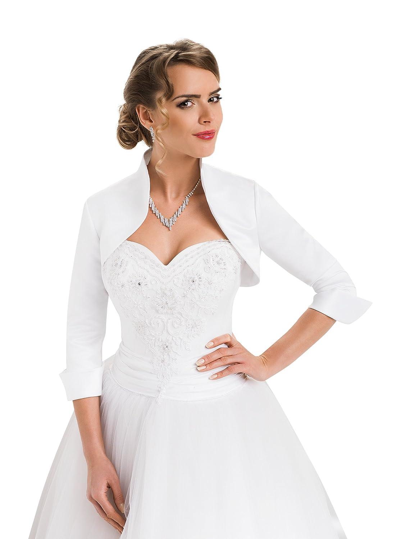 Ladies Fashion Wedding Satin Shrug Bridal Bolero Jacket Three Quarter Sleeves