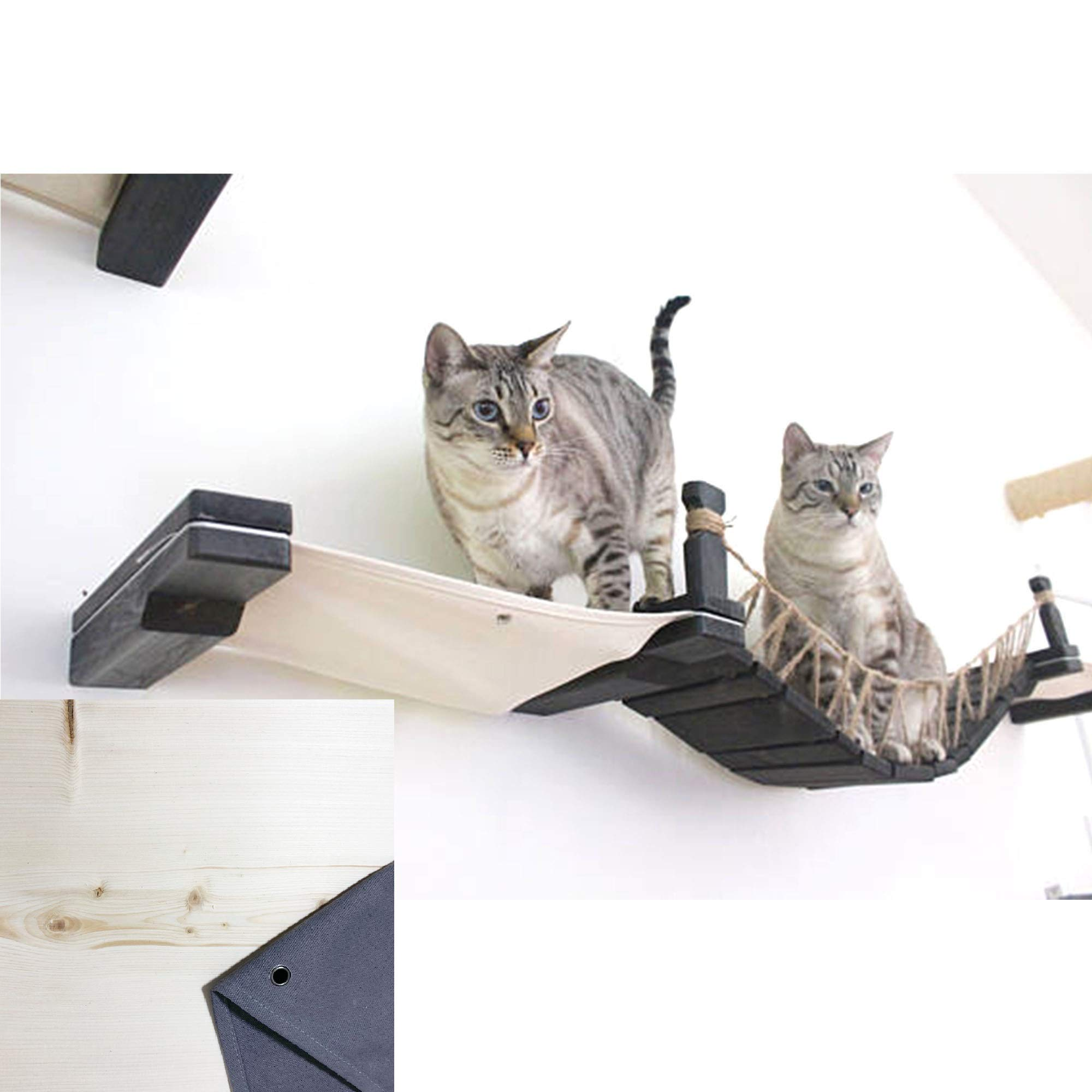 CatastrophiCreations The Cat Mod - Wall-Mounted Cat Bridge with Fabric Lounger for Cats