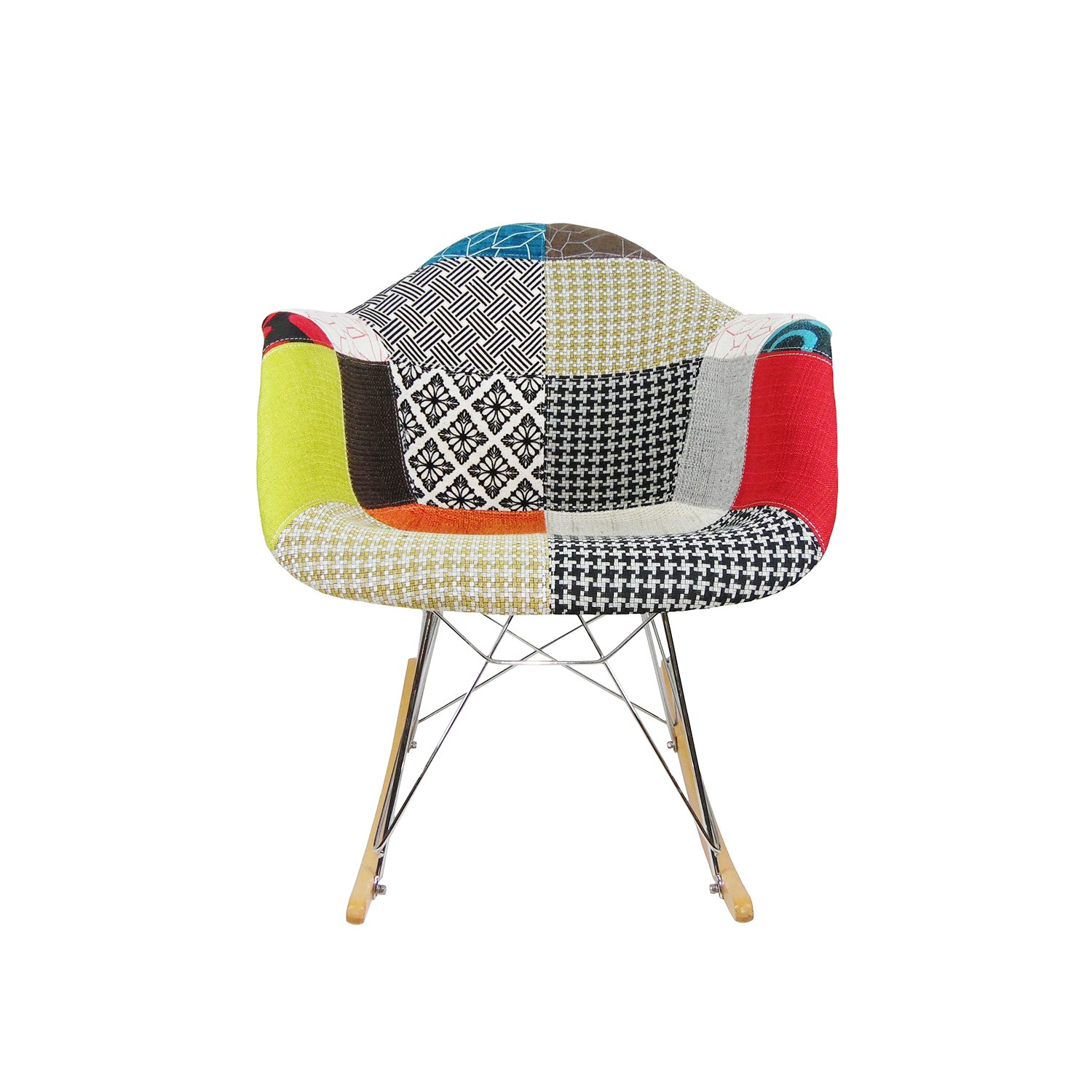 Mid century modern eames style rar patchwork fabric upholstered rocking rocker chair amazon co uk kitchen home