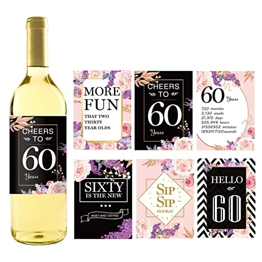 Etiquetas para botellas de vino de 60 cumpleaños, diseño de ...