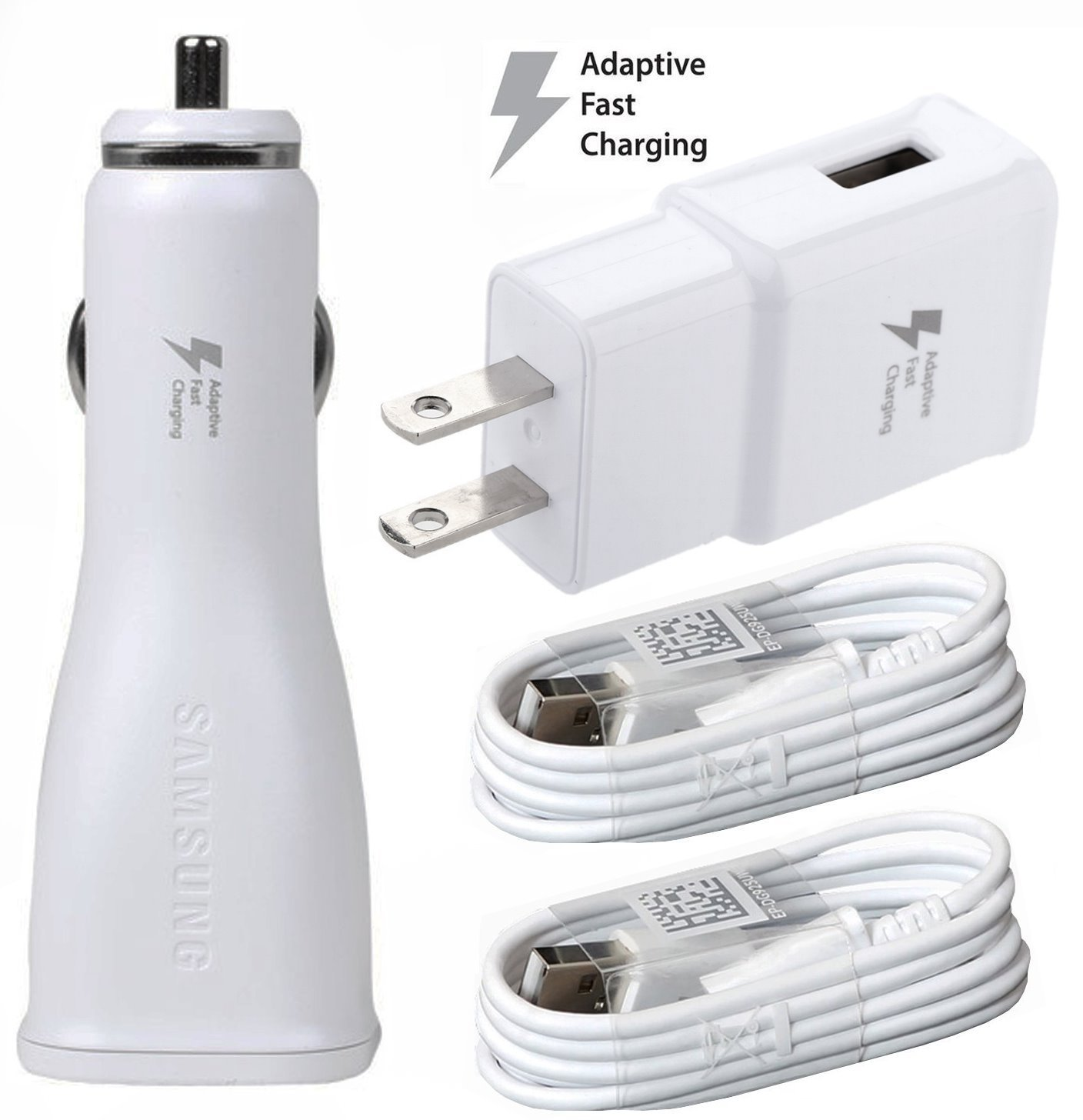 Verizon Samsung Galaxy S8 Adaptive Fast Charger Type C Cable Kit! [1 Car + 1 Home Charger + 2x Type C USB Cable] AFC uses dual voltages for up to 50% faster charging! - Bulk Packaging 4326609798