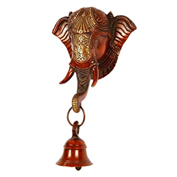 Buy Collectible India 10 Inches Elephant Face Wall Hanging With Bell