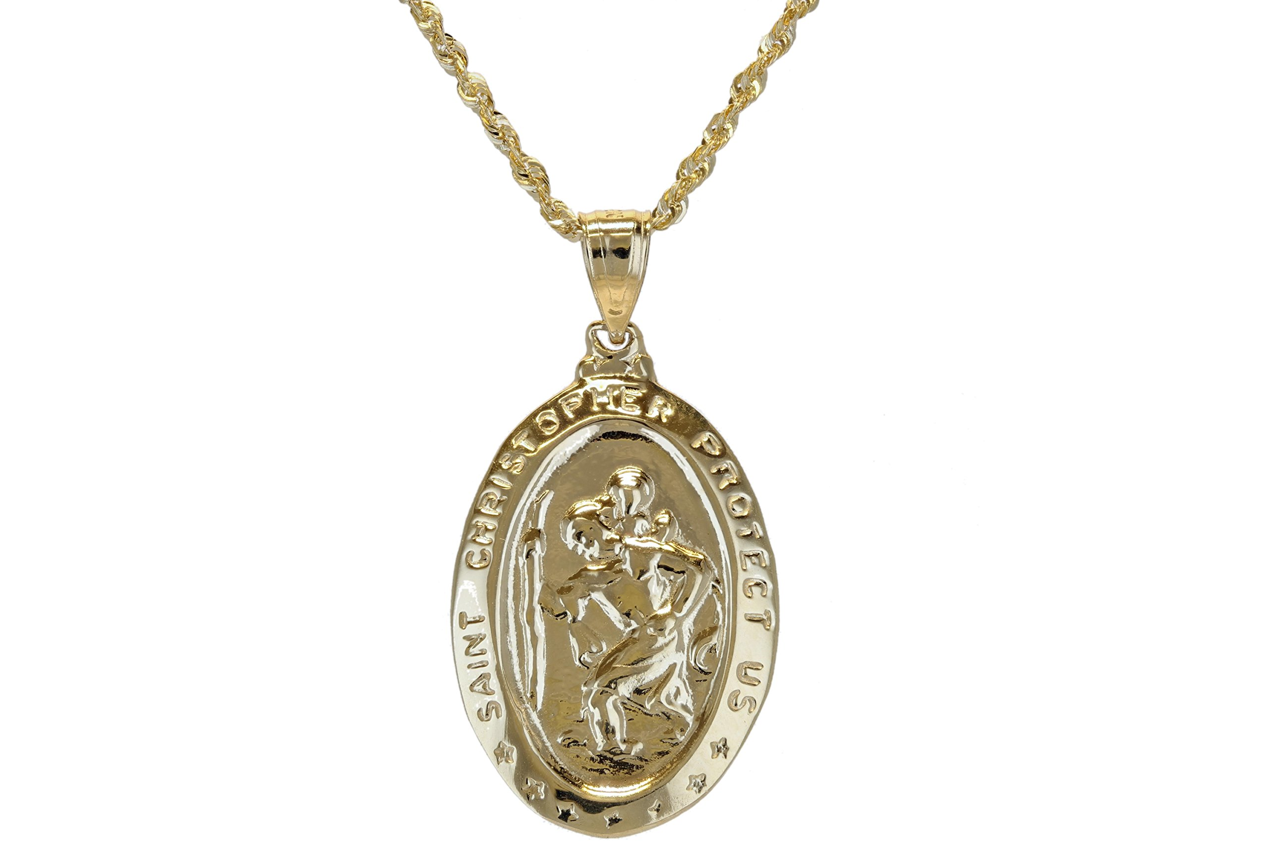10k Yellow Gold Religious Christian St. Christopher with the Christ Child Oval Medallion Pendant (Large) by Glad Gold (Image #1)