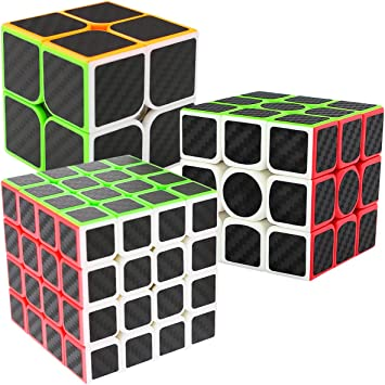 LSMY Speed Cubes 2x2x3 + 3x3x3 + 4x4x4, 3 Pack Puzzle Mágico Cubo Carbon Fiber Sticker Toy: Amazon.es: Juguetes y juegos