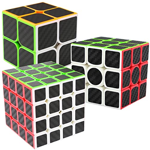 Speed Cubes 2x2x3 + 3x3x3 + 4x4x4, LSMY 3 Pack Puzzle Magic Cube Carbon Fiber Sticker Toy
