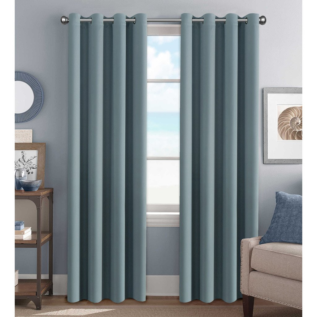 H.Versailtex Premium Blackout Thermal Insulated Room Darkening Curtains for Bedroom/Living Room Stone Blue
