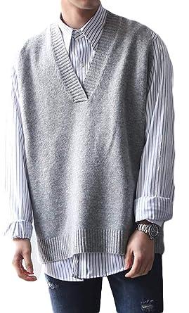BSCOOLニットベスト メンズ Vネック ゆったり 袖なし ニットセーター 韓国ファッション ストリート系 プル