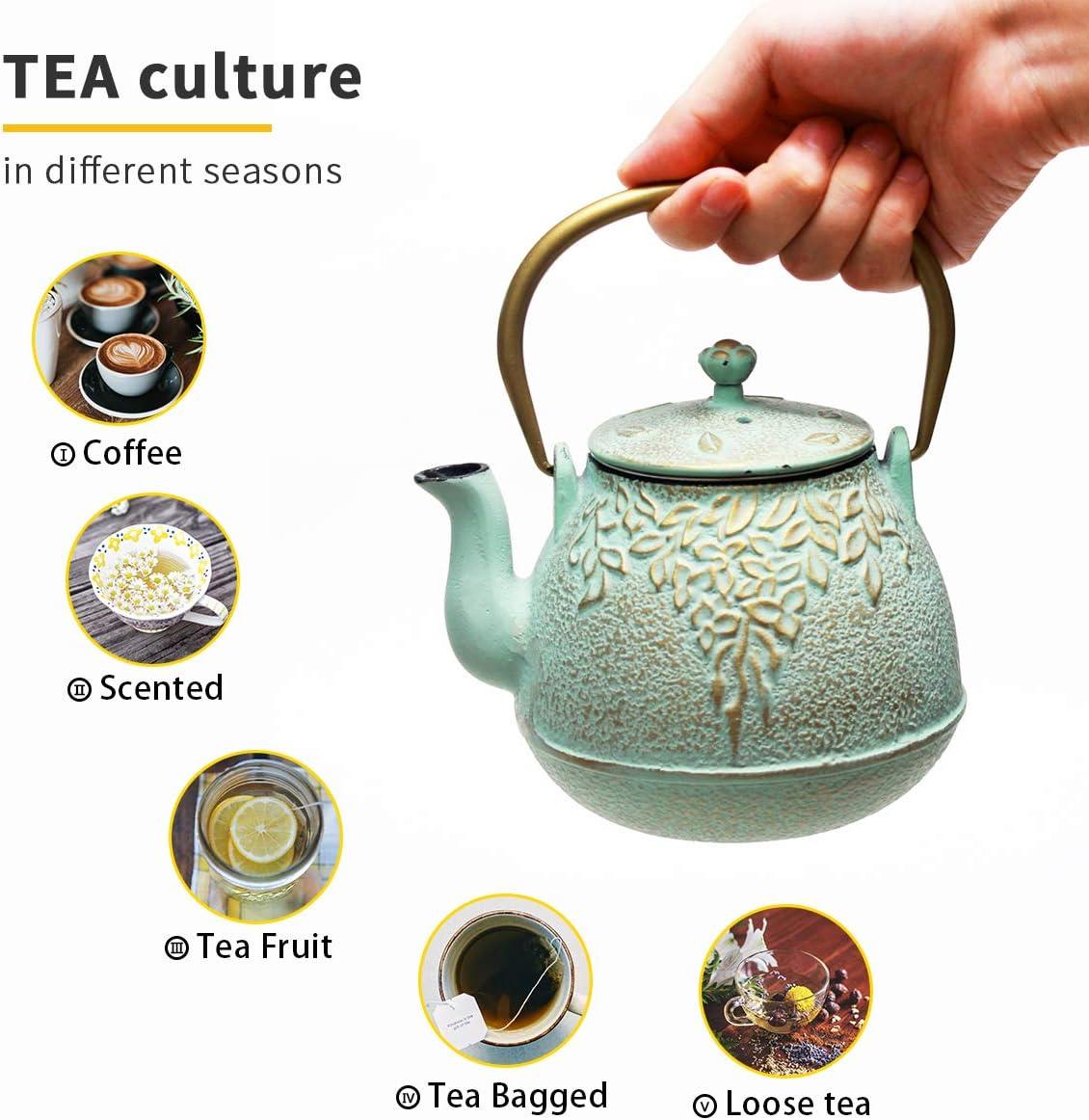 Tea Kettle, TOPTIER Japanese Cast Iron Teapot with Stainless Steel Infuser, Cast Iron Tea Kettle Stovetop Safe
