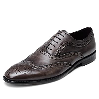 Aide Baoù Men's Formal Business Shoes Dark Brown Waxy Grain Leather Lace-up Brogue Wingtip Oxfords MG1BRN10 | Oxfords