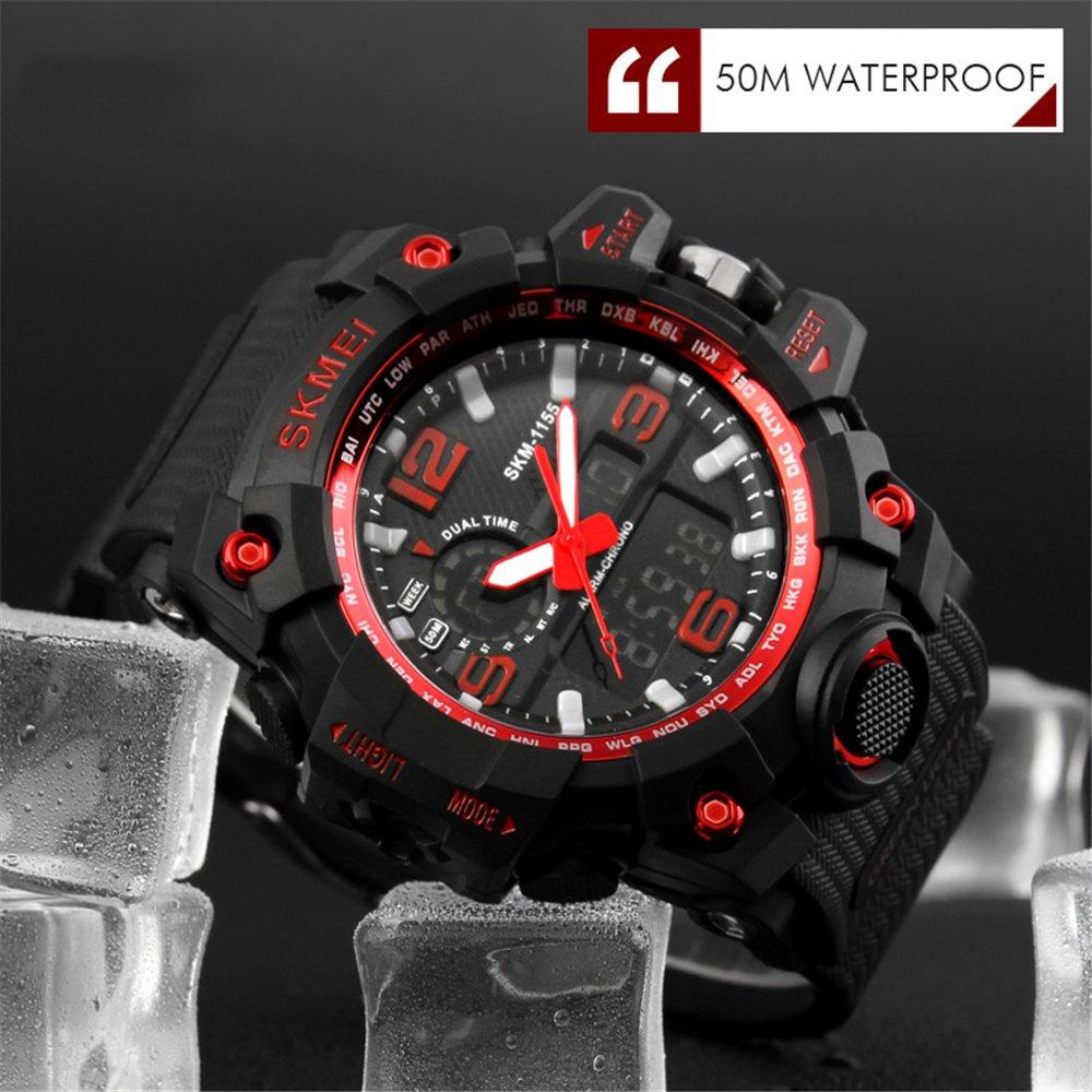 TTLIFE relojes de pulsera de moda rojo hombres Dial grande Digital reloj impermeable Calendario de la fecha reloj negro deportivo Cronómetro tiempo preciso ...