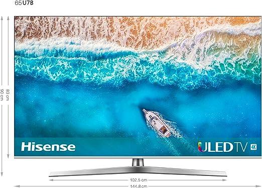 Hisense H65U7B - TV ULED 65 4K Ultra HD con Alexa Integrada, BT, Dolby Vision HDR 1000, Audio Dolby Atmos, Ultra Dimming, Procesador QC, Smart TV VIDAA U 3.0 con IA, Mando