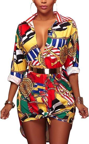 Camisas Mujer De Vestir Verano Elegantes Manga Larga De Solapa Un Solo Pecho Moda Impresión Floral Hawaiana Blusas Camisa Camiseta Tops Medium Largos