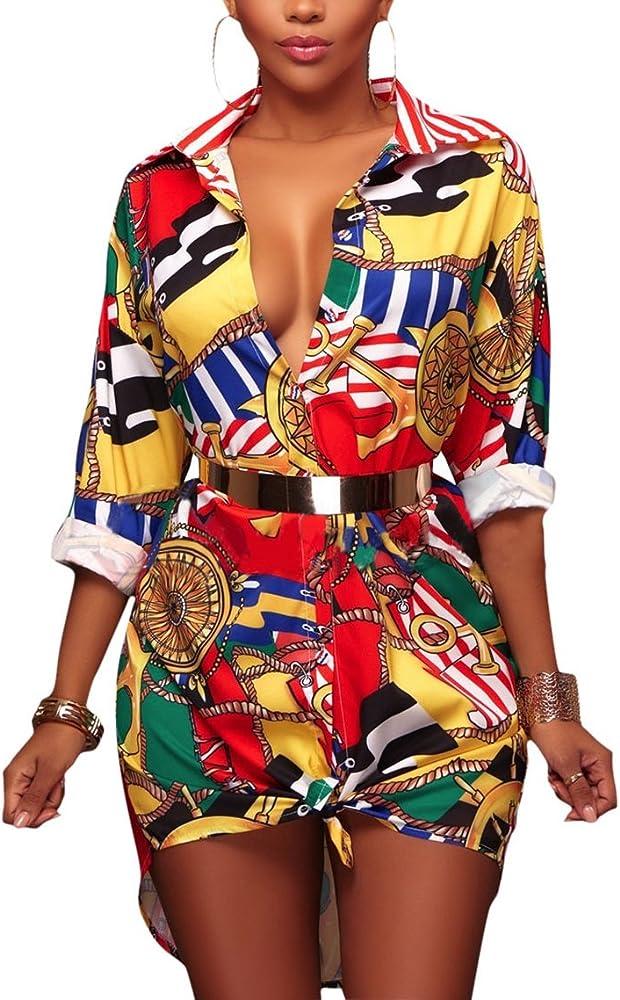 Blusas Mujer De Vestir Elegantes Camisas Manga Larga De Solapa Un Solo Pecho Moda Vintage Hippie Estampadas Camisa Largos Camiseta Tops: Amazon.es: Ropa y accesorios