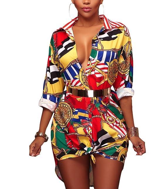 Blusas Mujer De Vestir Elegantes Camisas Manga Larga De Solapa Un Solo Pecho Moda Vintage Hippie Estampadas Camisa Largos Camiseta Tops: Amazon.es: Ropa y ...