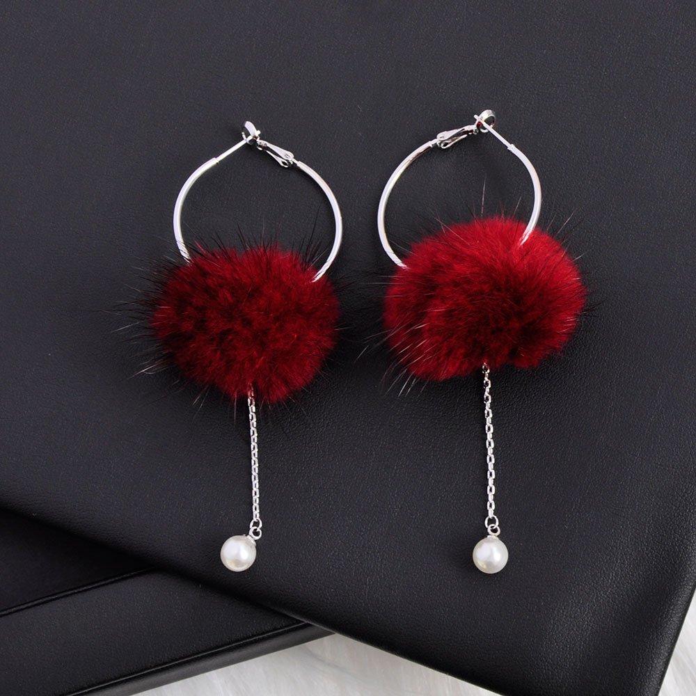 Fur Pom Pom Earring Drop pearl with silvery Dangle Ear Hoop for Women girls