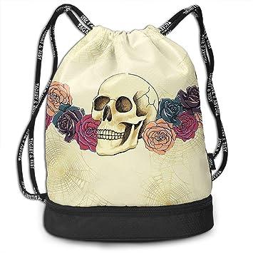 Image Unavailable. Image not available for. Color  HUOPR5Q Skull Drawstring  Backpack Sport Gym Sack Shoulder Bulk Bag Dance Bag for School Travel 0460dff133