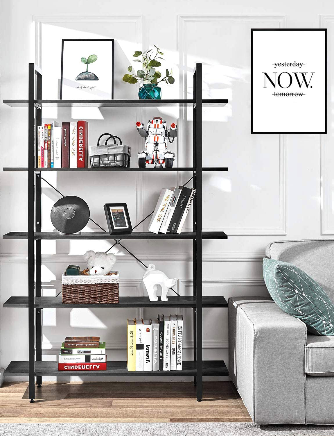 ORAF Bookshelf 5 Tier Bookcase Industrial Bookshelf Vintage Industrial Style Bookcase,Black