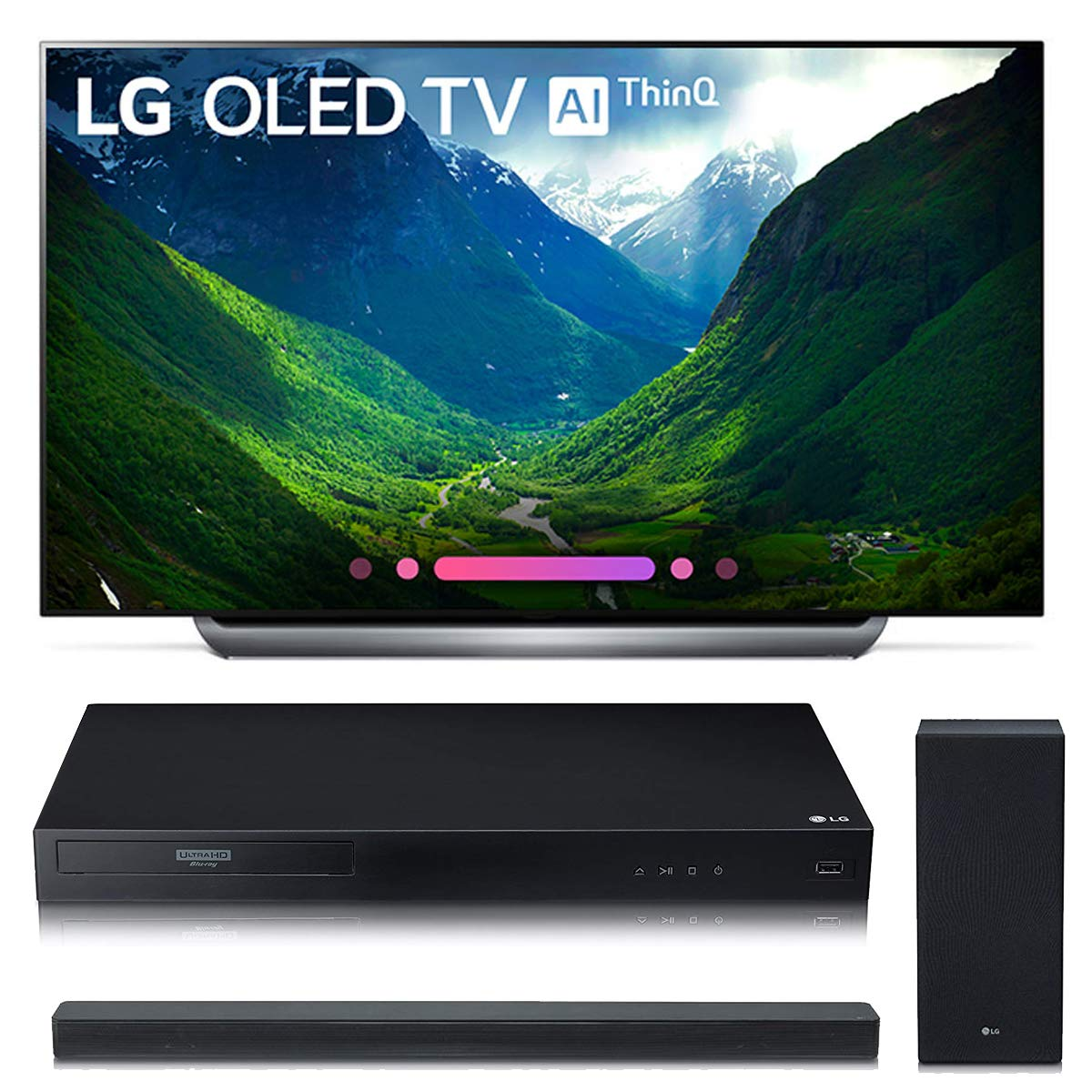 LG Electronics OLED65C8P 65-Inch 4K Ultra HD Smart OLED TV (2018 Model) Bundle with LG UBK80 4K and LG SK6Y 2.1
