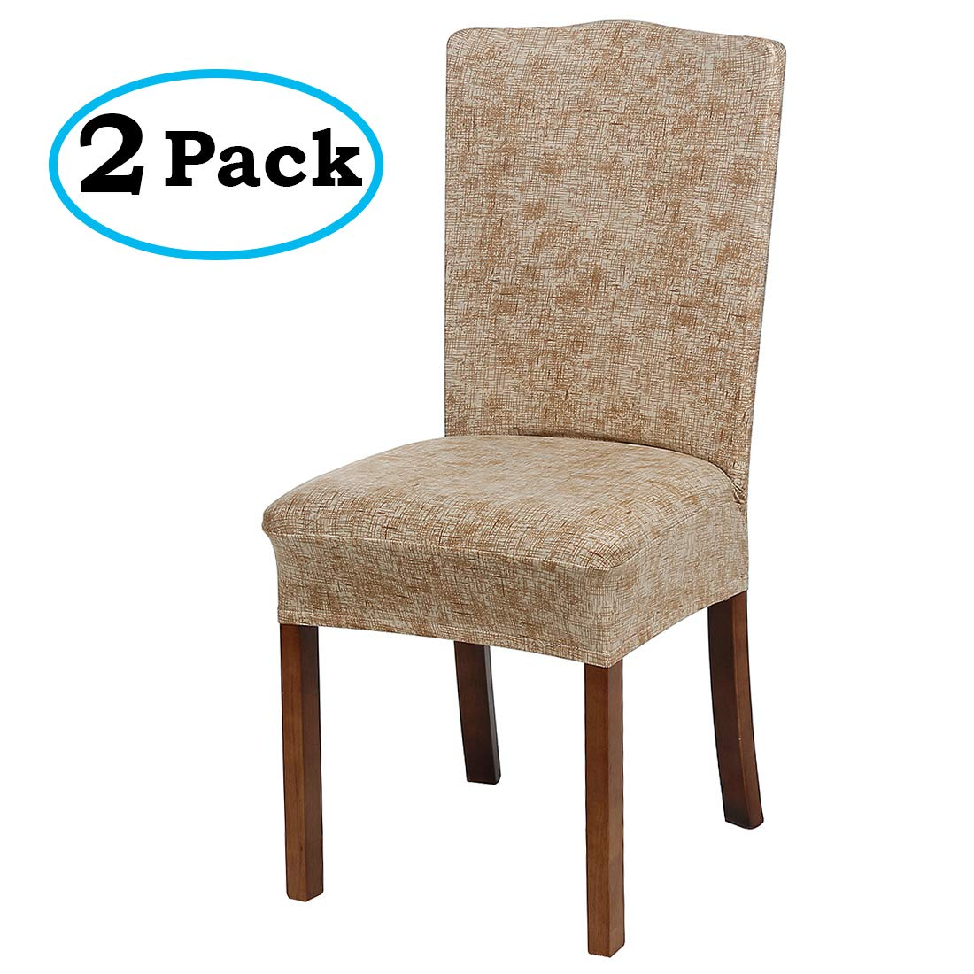 misaya Stretch Spandex Dining Room Chair Cover Removable Washable Chair Protector Flowers Painting Stool Seat Slipcover Set of 2, Khaki