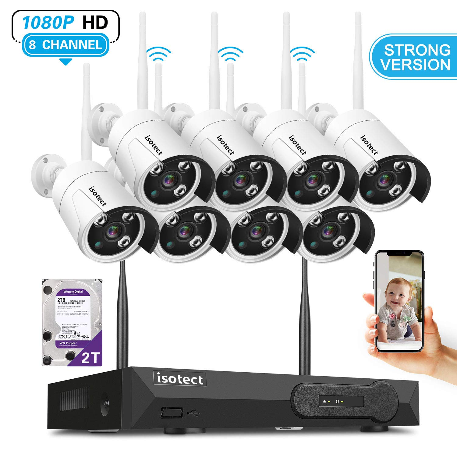 Newest Strong Version WiFi Wireless Security Camera System, ISOTECT 8CH Full HD 1080P Video Security System, 8pcs Outdoor Indoor IP Security Cameras, 65ft Night Vision and Easy Remote View, 2TB HDD