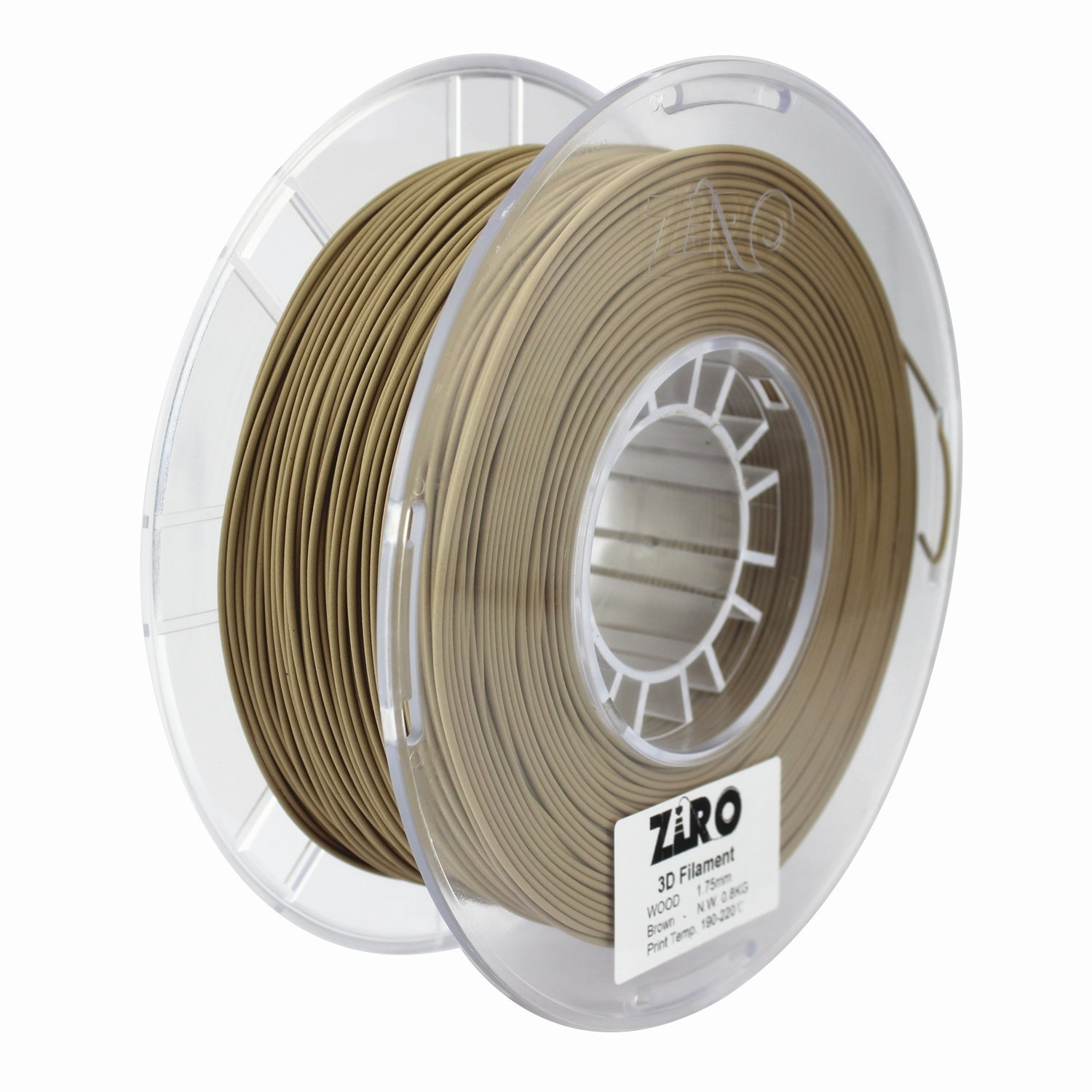 ZIRO 3D Printer Filament 1.75mm WOOD 3D Filament 0.8KG Spool, Dimensional Accuracy +/- 0.05mm, Brown