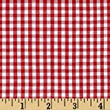 Richland Textiles Red Wide Width 1/8in Gingham Check White Fabric by The Yard