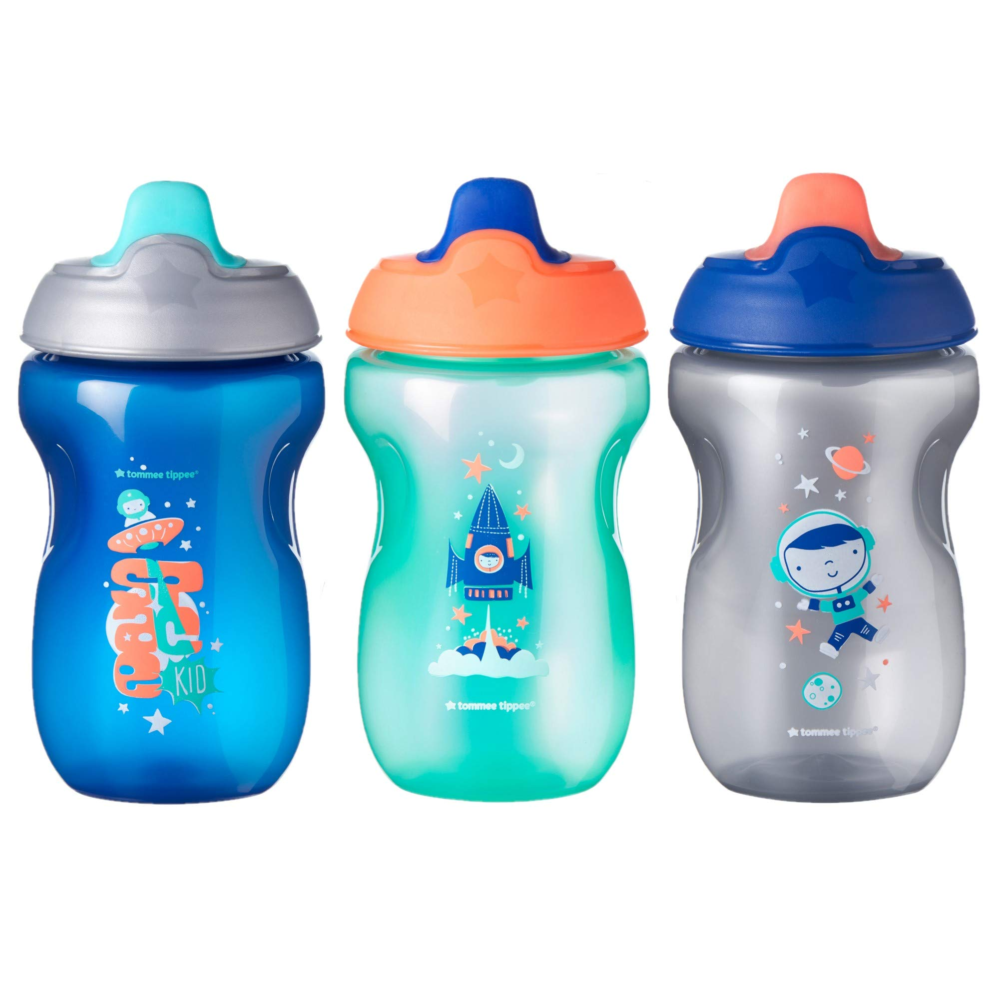 Tommee Tippee Non-Spill Toddler Sippee Cup, 9+ Months, 10 Oz, 3 Count, Boy, Gray, Blue and Green by Tommee Tippee