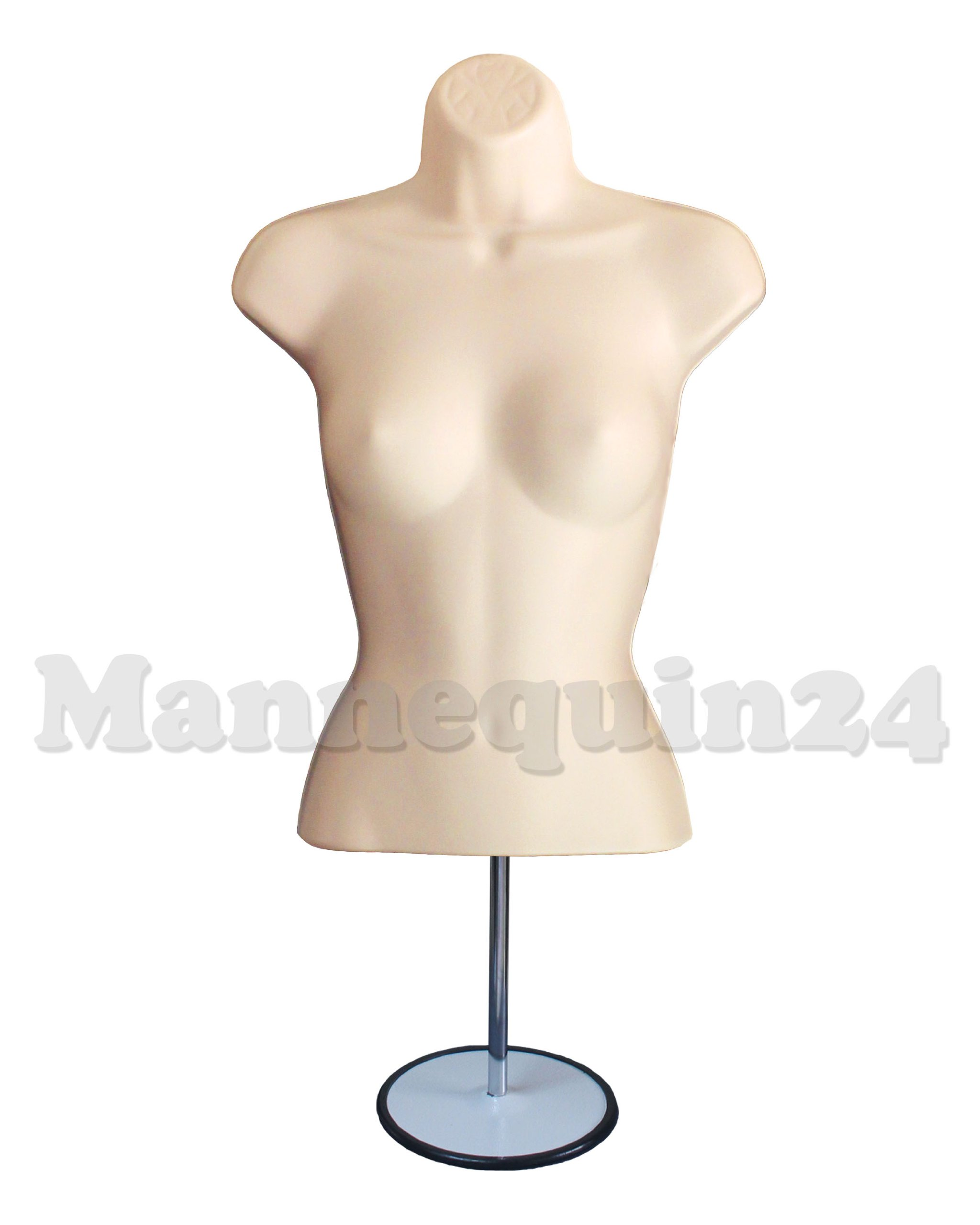 Mannequin Form Flesh Female Torso (Waist Long) with Metal Stand and Hook for Hanging Pants