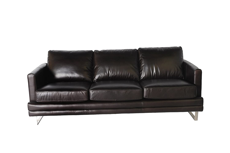 Amazon com lazzaro melbourne sofa 87 by 38 by 35 inch dark chocolate kitchen dining