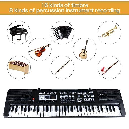 Teclado Piano, Piano Digital 61 Teclas, Teclados Electr¡§?nicos 10 Ritmo & Multifuncional, Teclado Port¡§¡étil Regalo para Ni?o Ni?a¡ê¡§Negro¡ê: Amazon.es: ...