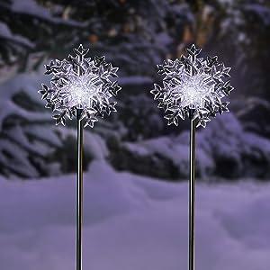 "Alpine Corporation SLC131SLR-WT-2 Alpine 33"" Tall Solar Snowflake Cool White LED Light-Set of 2 Garden Stake, Multicolor"