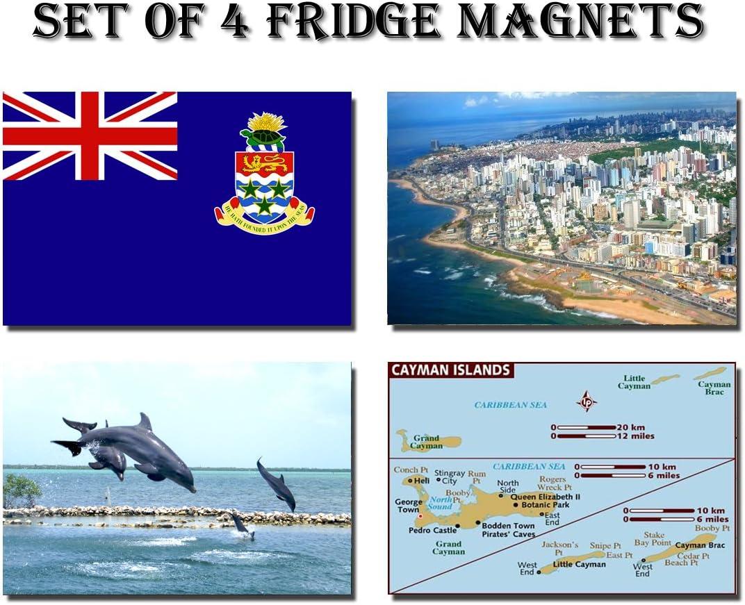 GIFTSCITY Set of 4 Cayman Islands Refrigerator Magnets Fridge Magnets – Cayman Islands Flag Cayman Islands MAP Cayman Islands Attractions