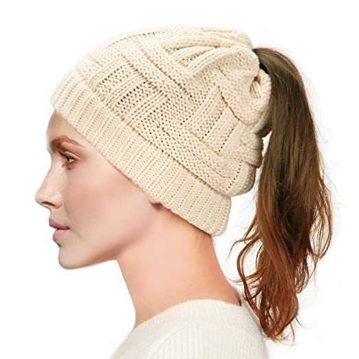 Dafunna Womens Ponytail Beanie Hat Soft Stretchy Cable Knit BeanieTail Warm  Winter Hat for Messy Bun e1198f9133ef