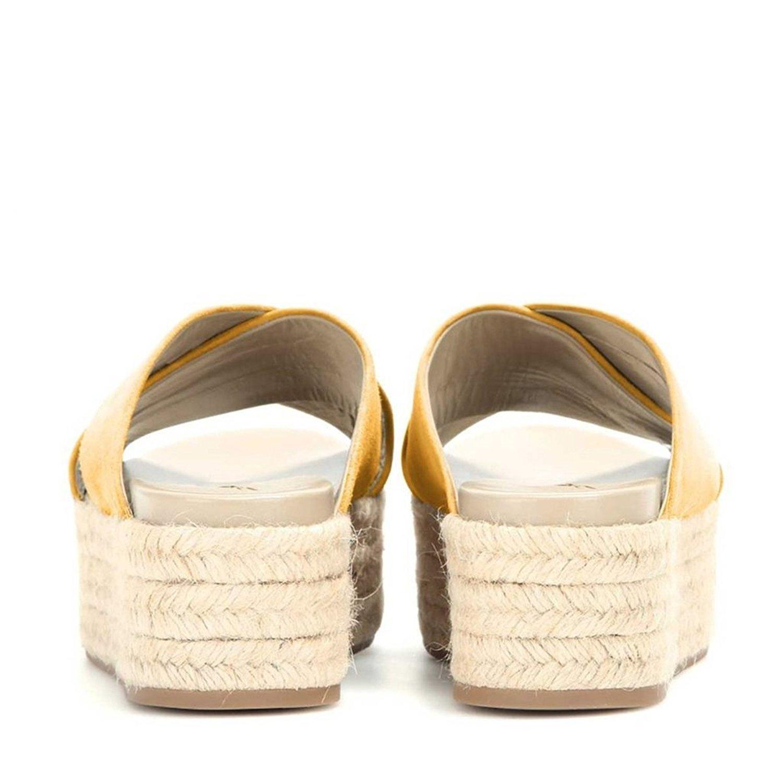 FSJ Women Cross Strappy Sandals Espadrille Platform Slippers Mid Heels Comfy Shoes Size 4-15 US B01IH13VOK 10 B(M) US|Yellow
