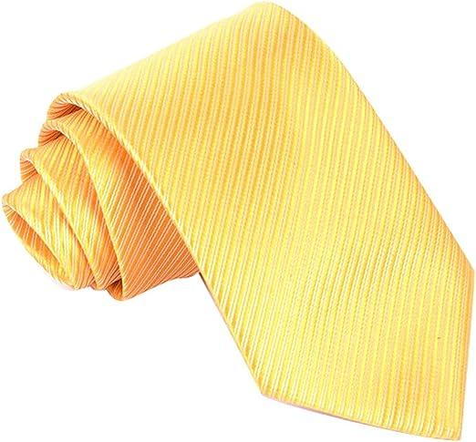 Panegy Corbata de Rayas Seda Teñida para Hombre Color Amarillo ...