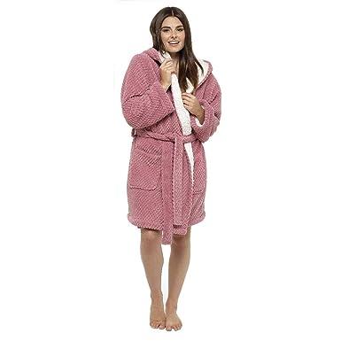 ae856e1ae7 Womens Waffle Gown Ladies Soft Fluffy Sherpa Fleece Novelty Hooded Dressing  Gown Womens Bath Robe Wrap House Coat Nightwear Sleepwear Lounge Wear with  Belt ...