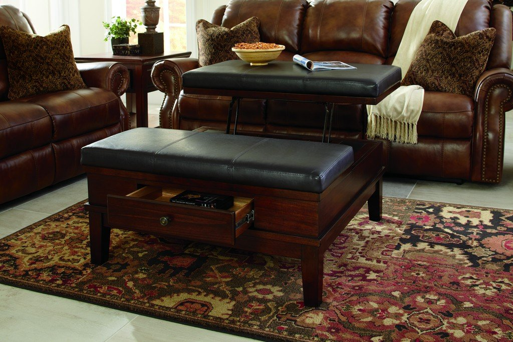 Amazon.com: Ashley Furniture Signature Design   Gately Ottoman Coffee Table  With Lift Top   Storage Compartments   Vintage Casual   Medium Brown:  Kitchen U0026 ...