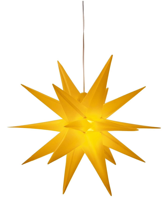 3D Leuchtstern / mit warm-weißer LED Beleuchtung / für Innen und Außen geeignet (IP44) / hängend / 7, 5 m Zuleitung (Weiß) [Energieklasse A+++] 5 m Zuleitung (Weiß) KaMel