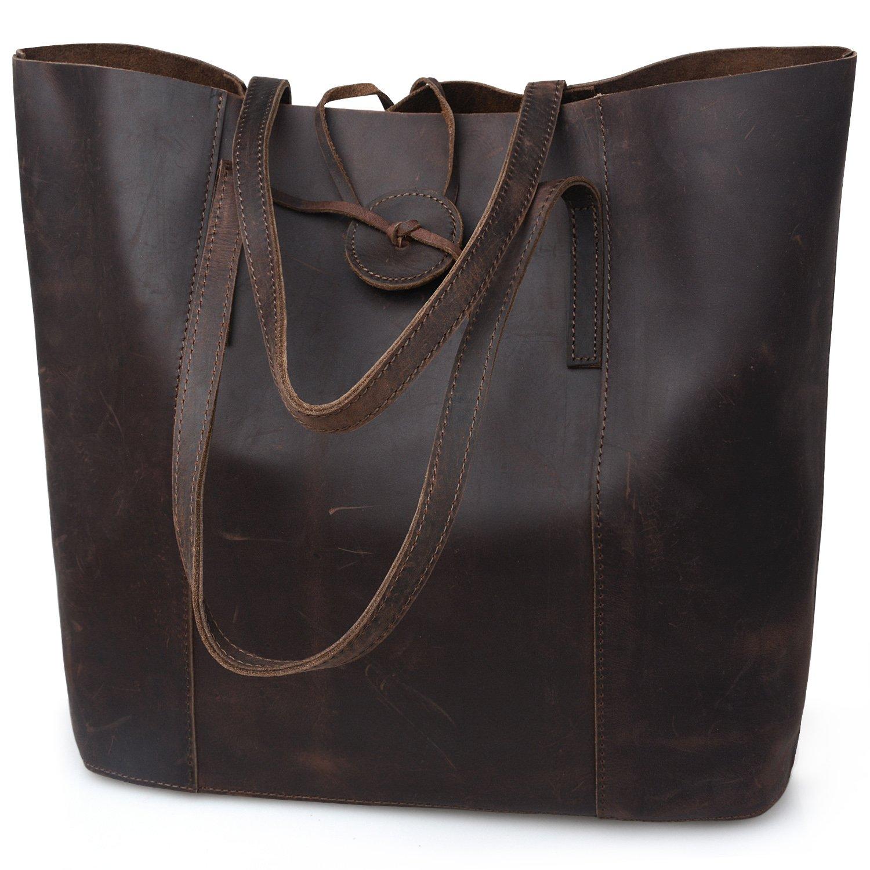 Jack&Chris New Vintage Cowhide Leather Handbag Tote Shoulder Bag Purse, MC506 (Darkbrown)