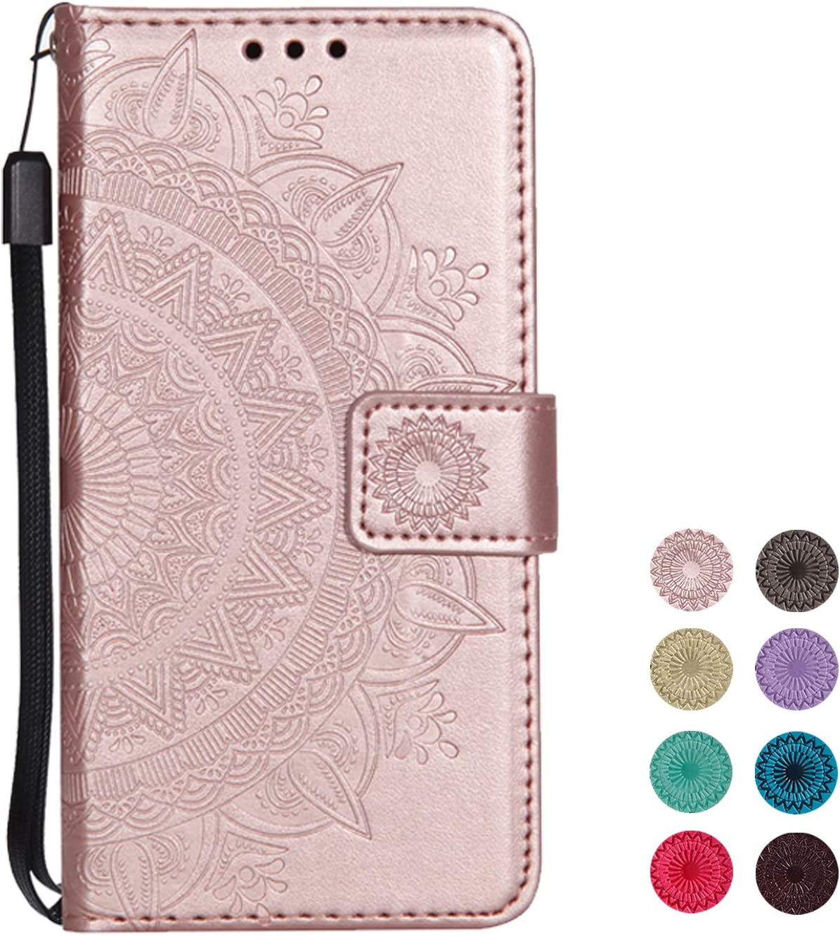 KuGi Huawei Honor 8X flip cover Flip cover Etui Housse Coque Portefeuille pour Huawei Honor 8X Rose Or
