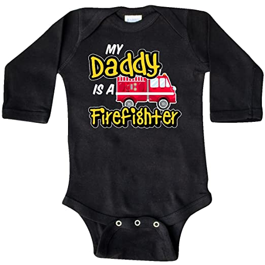 04328de0d inktastic - My Daddy is a Firefighter Long Sleeve Creeper Newborn Black  2f95c