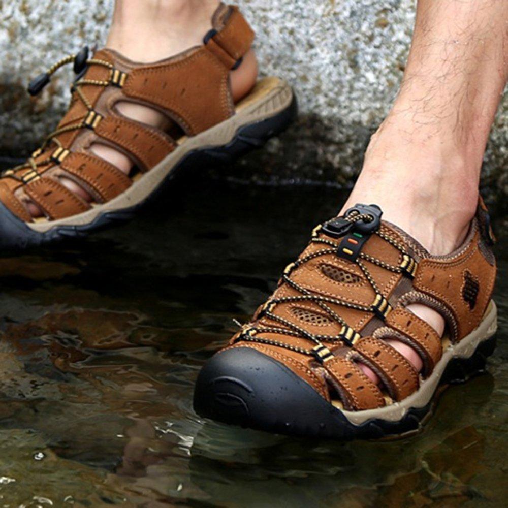 Herren Walking Hausschuhe Sommer Flip Flop Leder Sandalen Toe Wandern Outdoor-Sport Velcro Closed Toe Sandalen Large Größe Schuhe Braun fee7b9