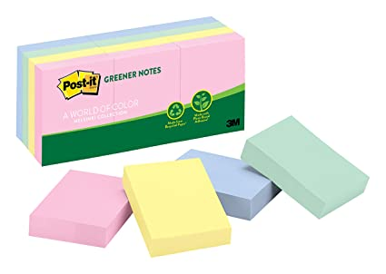83db94cf4 Amazon.com: Post-it Greener Notes, 12 Pads/Pack, 1 ½ in. x 2 in, 100 ...