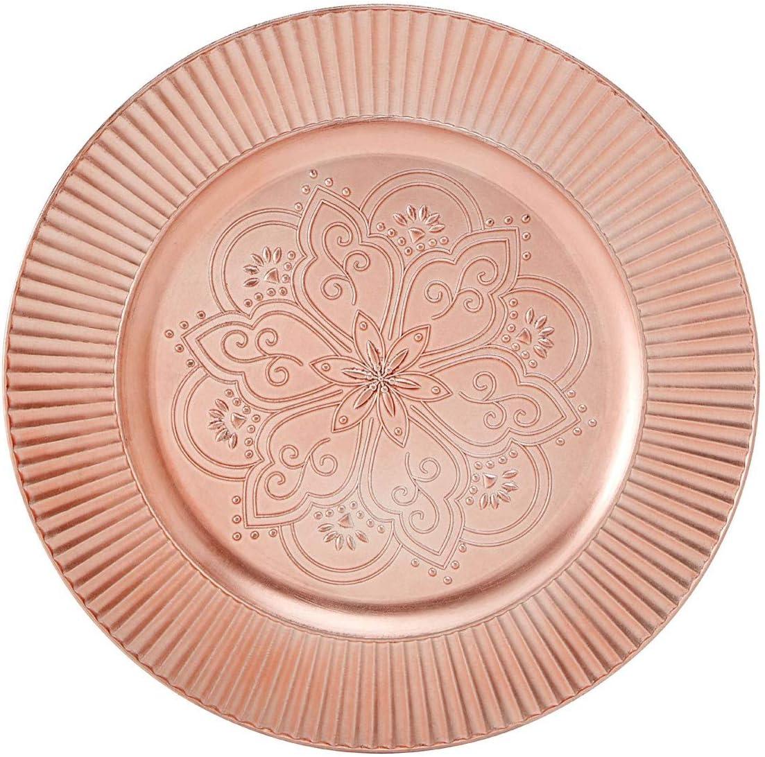 Redbud Rose Gold Charger Plate Symmetrical Floral Pattern Evokes Exotic Moorish Design