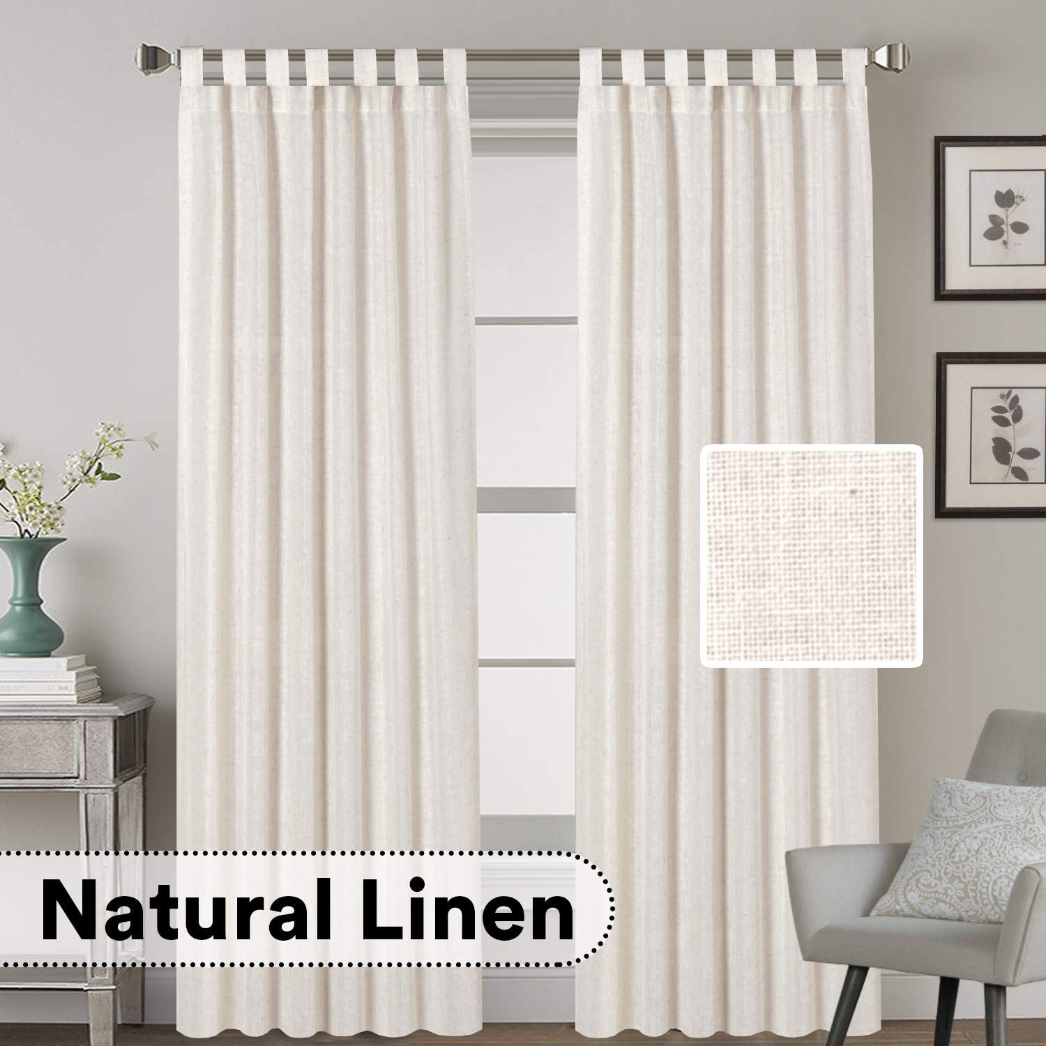 Shop H.VERSAILTEX Tab Top Natural Linen Blended Airy Curtains from Amazon on Openhaus